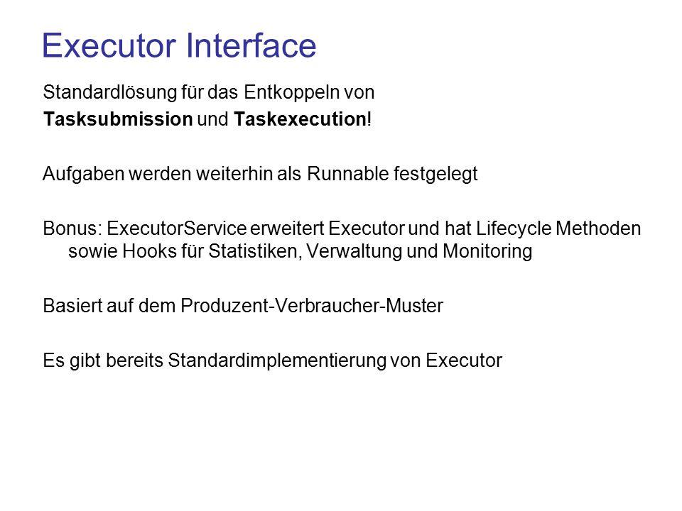 Executor Interface Standardlösung für das Entkoppeln von Tasksubmission und Taskexecution.