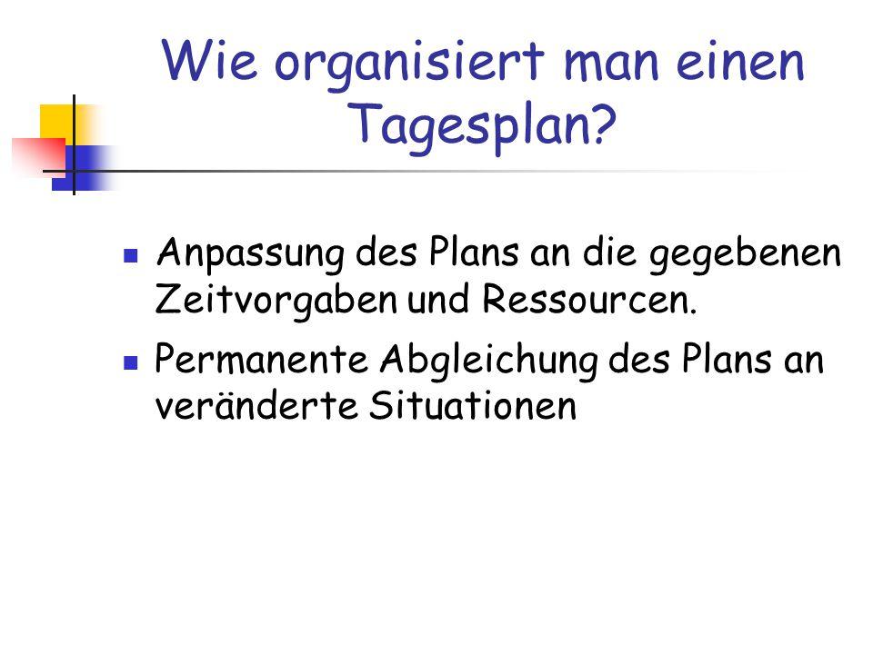Wie organisiert man einen Tagesplan.
