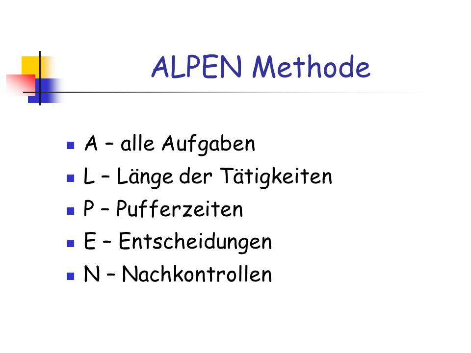 ALPEN Methode A – alle Aufgaben L – Länge der Tätigkeiten P – Pufferzeiten E – Entscheidungen N – Nachkontrollen