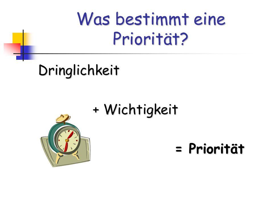 Was bestimmt eine Priorität? Dringlichkeit + Wichtigkeit = Priorität