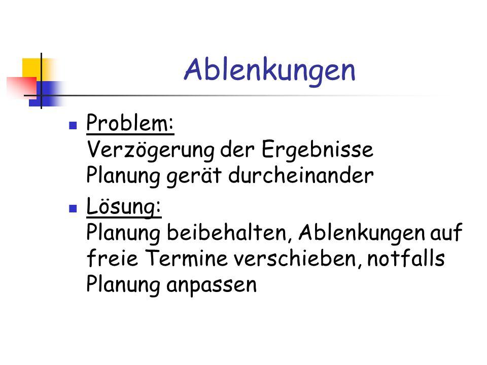 Ablenkungen Problem: Verzögerung der Ergebnisse Planung gerät durcheinander Lösung: Planung beibehalten, Ablenkungen auf freie Termine verschieben, notfalls Planung anpassen