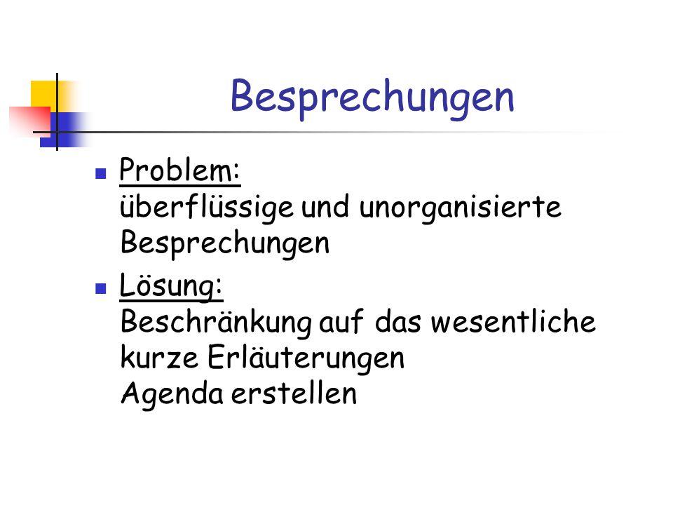 Besprechungen Problem: überflüssige und unorganisierte Besprechungen Lösung: Beschränkung auf das wesentliche kurze Erläuterungen Agenda erstellen