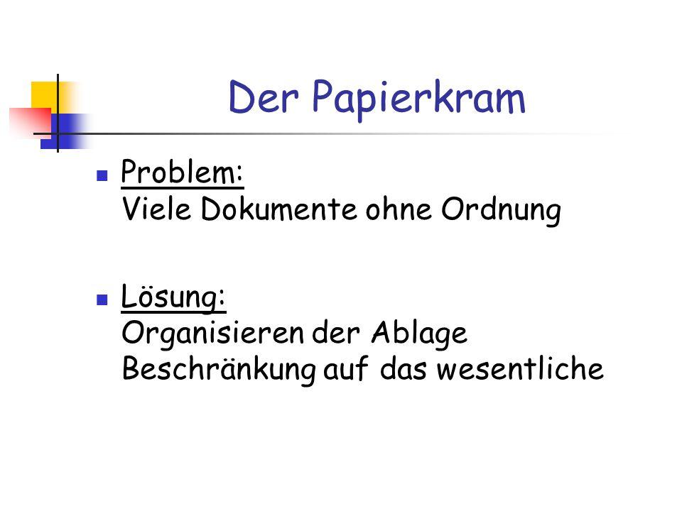Der Papierkram Problem: Viele Dokumente ohne Ordnung Lösung: Organisieren der Ablage Beschränkung auf das wesentliche