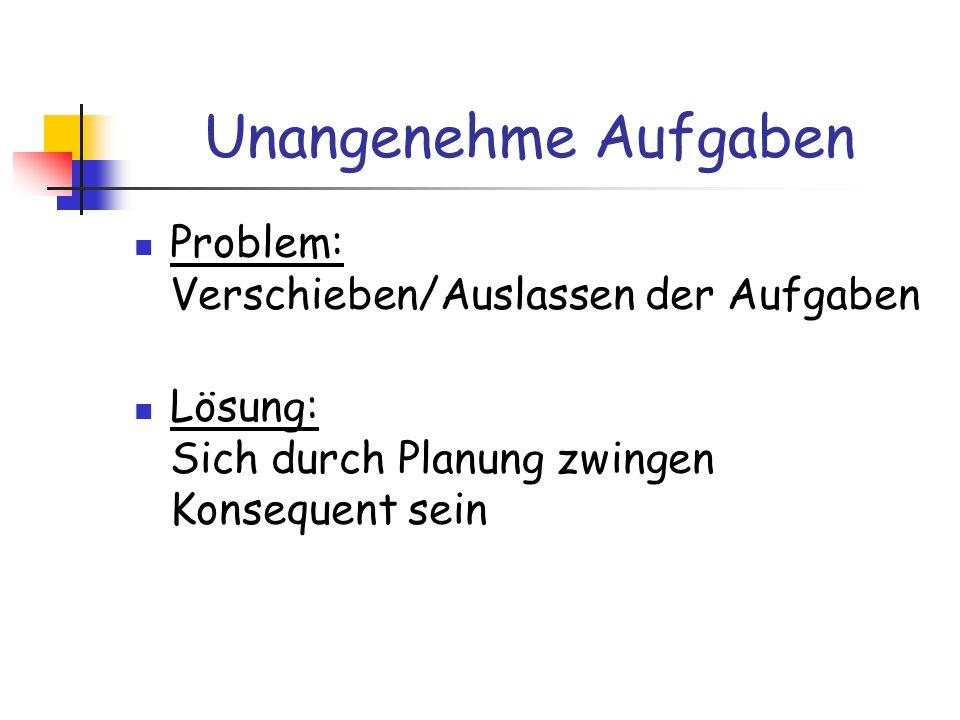 Unangenehme Aufgaben Problem: Verschieben/Auslassen der Aufgaben Lösung: Sich durch Planung zwingen Konsequent sein