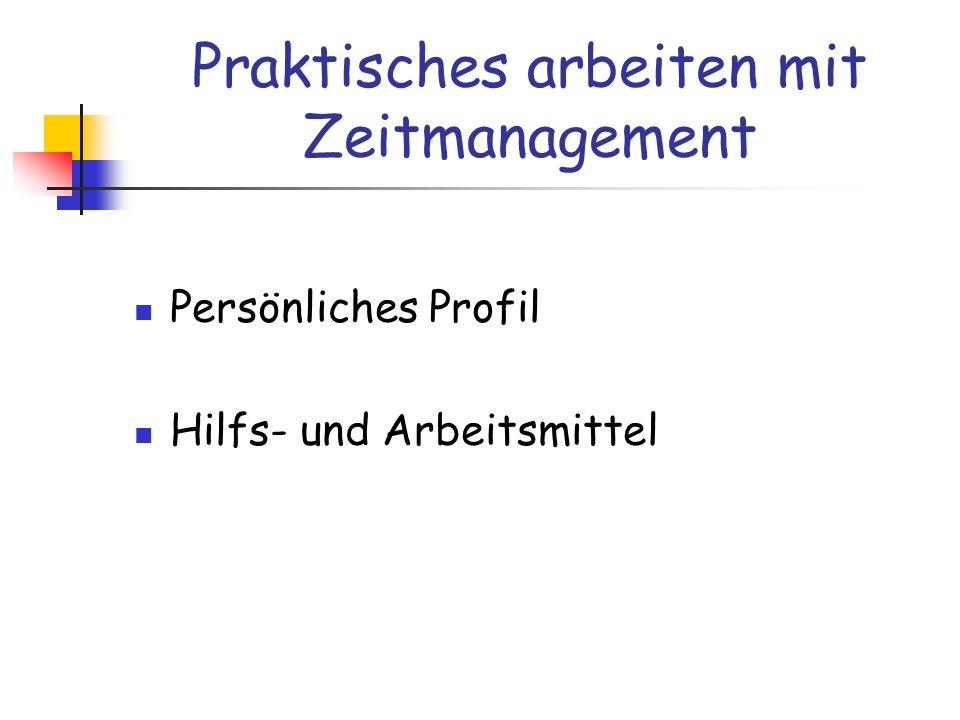 Persönliches Profil Hilfs- und Arbeitsmittel