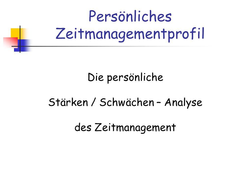 Persönliches Zeitmanagementprofil Die persönliche Stärken / Schwächen – Analyse des Zeitmanagement