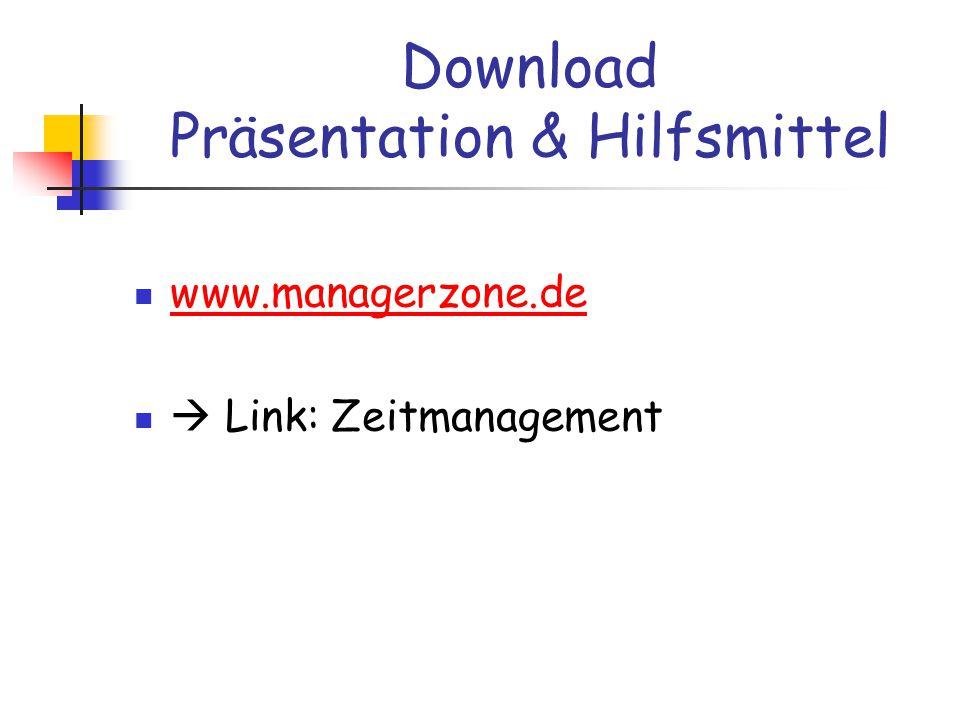 Download Präsentation & Hilfsmittel www.managerzone.de  Link: Zeitmanagement