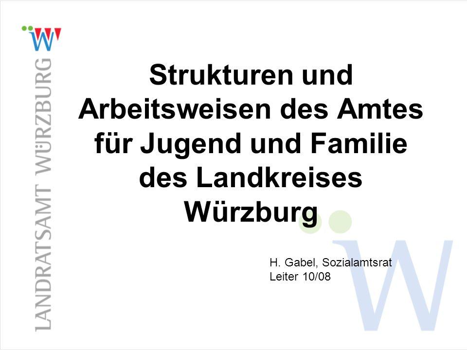 Strukturen und Arbeitsweisen des Amtes für Jugend und Familie des Landkreises Würzburg H. Gabel, Sozialamtsrat Leiter 10/08