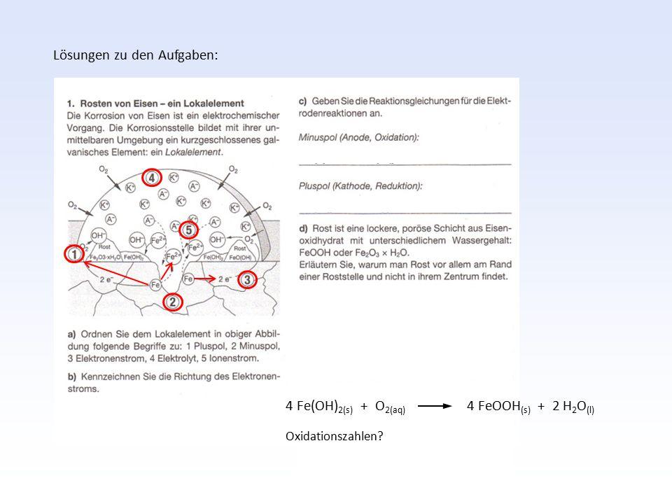 Lösungen zu den Aufgaben: 4 Fe(OH) 2(s) + O 2(aq) 4 FeOOH (s) + 2 H 2 O (l) Oxidationszahlen?