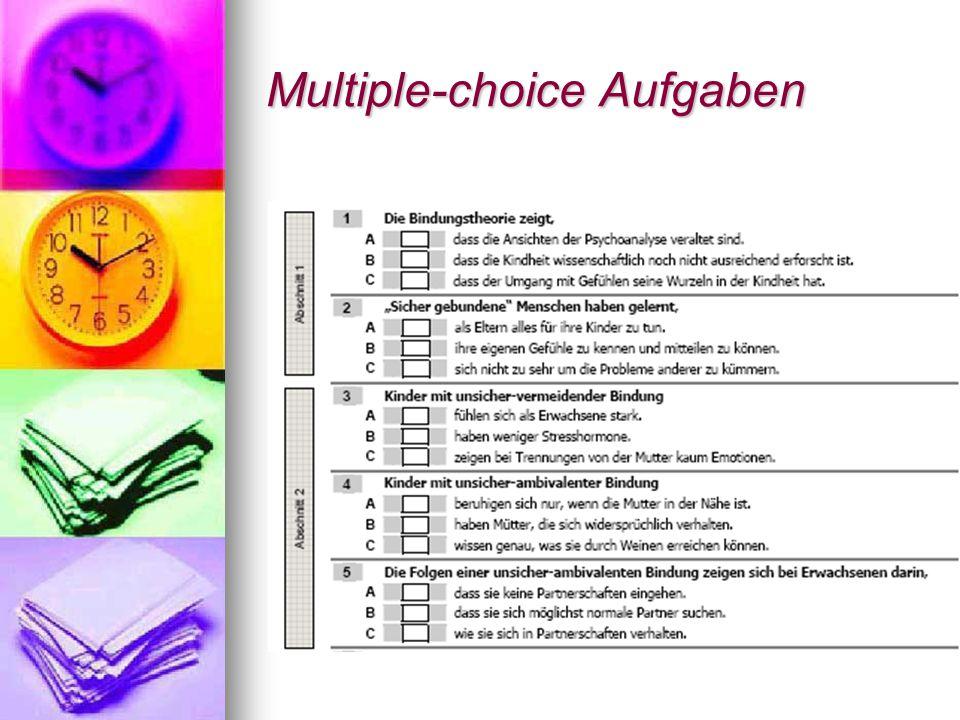 Multiple-choice Aufgaben