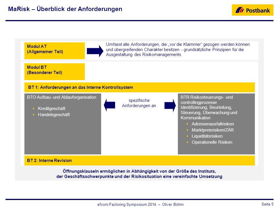 CRO / RisikosteuerungSeite 5 efcom Factoring Symposium 2014 – Oliver Böhm Öffnungsklauseln ermöglichen in Abhängigkeit von der Größe des Instituts, de