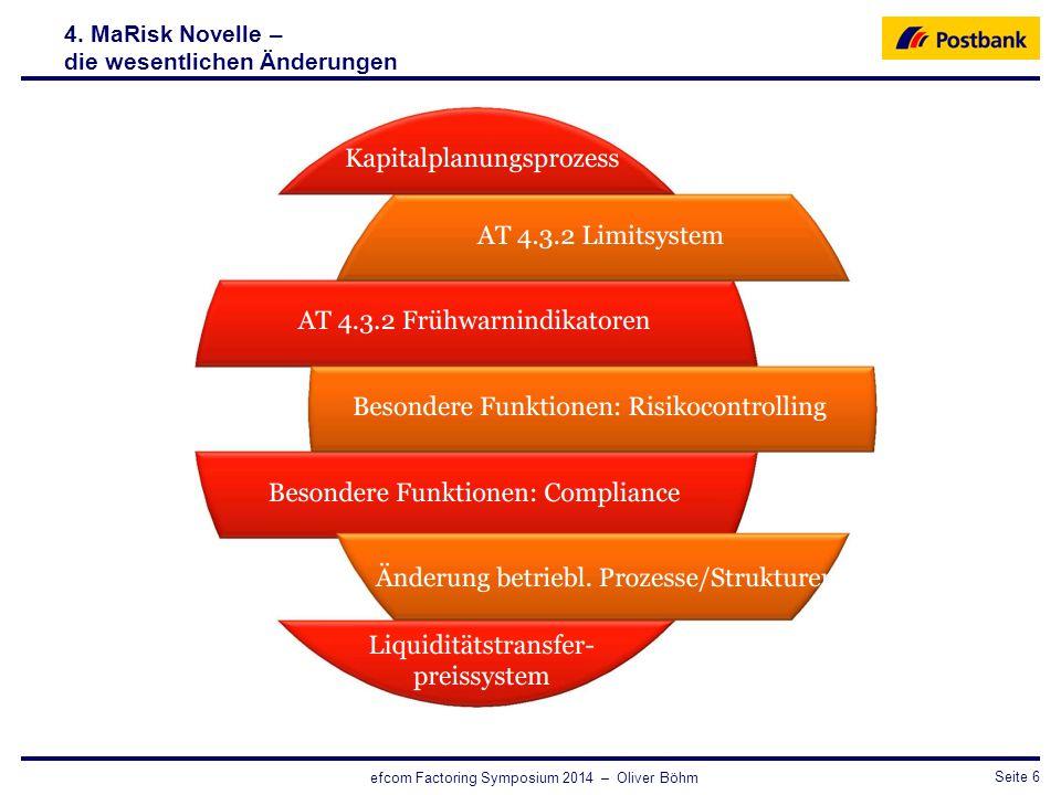 CRO / RisikosteuerungSeite 6 efcom Factoring Symposium 2014 – Oliver Böhm 4. MaRisk Novelle – die wesentlichen Änderungen