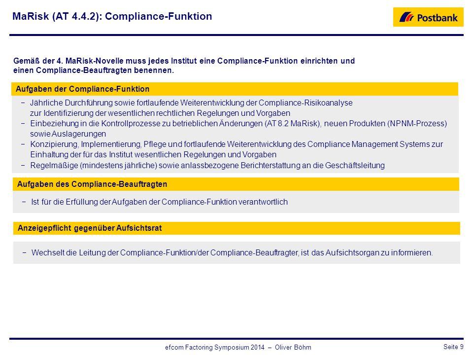 CRO / RisikosteuerungSeite 9 efcom Factoring Symposium 2014 – Oliver Böhm  Jährliche Durchführung sowie fortlaufende Weiterentwicklung der Compliance