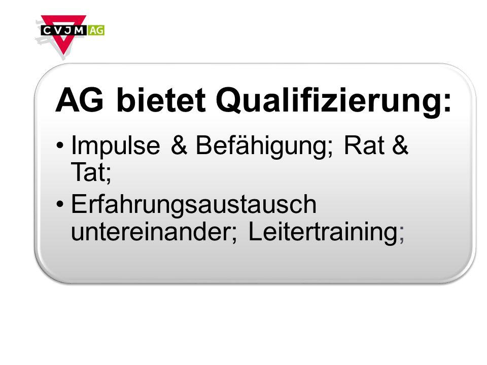 AG bietet Qualifizierung: Impulse & Befähigung; Rat & Tat; Erfahrungsaustausch untereinander; Leitertraining;