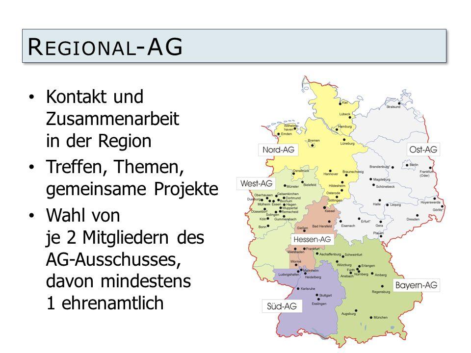 R EGIONAL -AG Kontakt und Zusammenarbeit in der Region Treffen, Themen, gemeinsame Projekte Wahl von je 2 Mitgliedern des AG-Ausschusses, davon mindestens 1 ehrenamtlich
