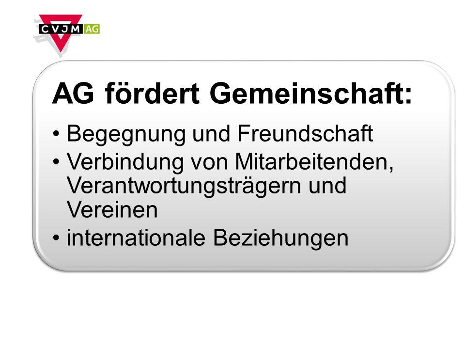 AG fördert Gemeinschaft: Begegnung und Freundschaft Verbindung von Mitarbeitenden, Verantwortungsträgern und Vereinen internationale Beziehungen