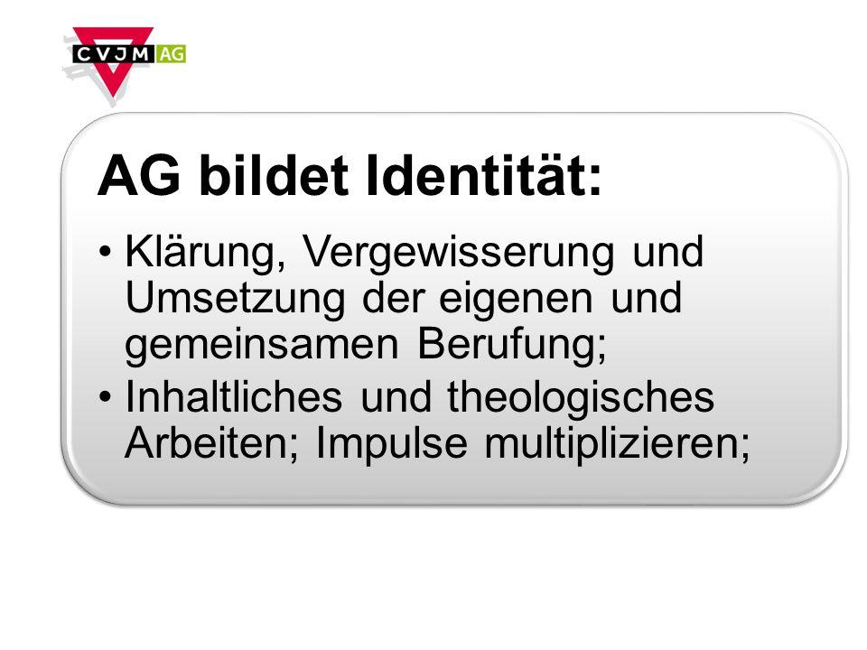 AG bildet Identität: Klärung, Vergewisserung und Umsetzung der eigenen und gemeinsamen Berufung; Inhaltliches und theologisches Arbeiten; Impulse multiplizieren;