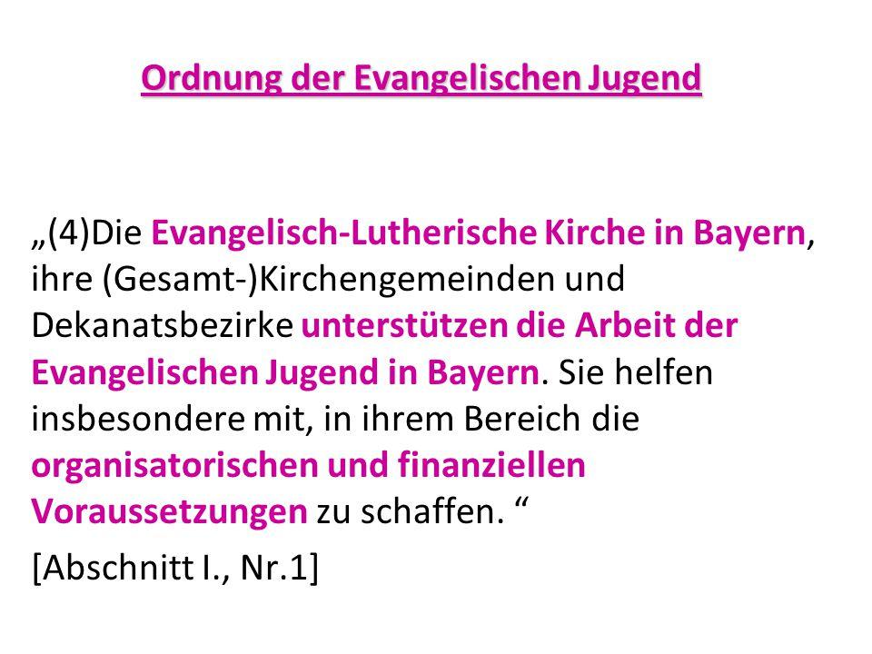 """""""(4)Die Evangelisch-Lutherische Kirche in Bayern, ihre (Gesamt-)Kirchengemeinden und Dekanatsbezirke unterstützen die Arbeit der Evangelischen Jugend"""