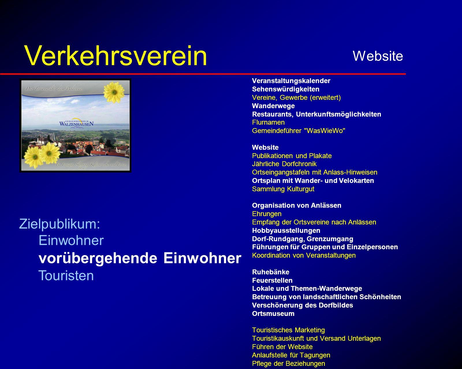 für vorübergehende Einwohner Website Verkehrsverein Veranstaltungskalender Sehenswürdigkeiten Vereine, Gewerbe (erweitert) Wanderwege Restaurants, Unt