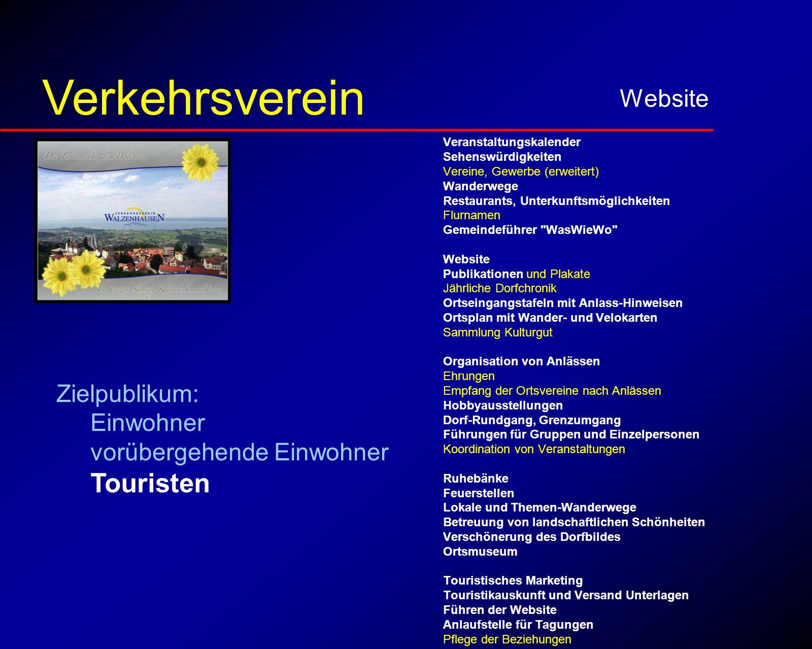 für Touristen Website Verkehrsverein Veranstaltungskalender Sehenswürdigkeiten Vereine, Gewerbe (erweitert) Wanderwege Restaurants, Unterkunftsmöglich