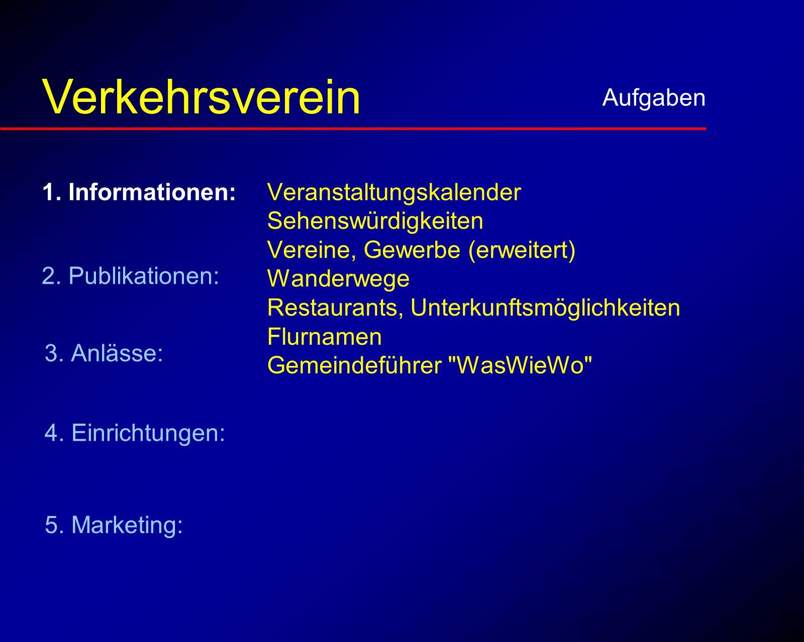 Informationen Aufgaben Verkehrsverein Veranstaltungskalender Sehenswürdigkeiten Vereine, Gewerbe (erweitert) Wanderwege Restaurants, Unterkunftsmöglichkeiten Flurnamen Gemeindeführer WasWieWo 5.