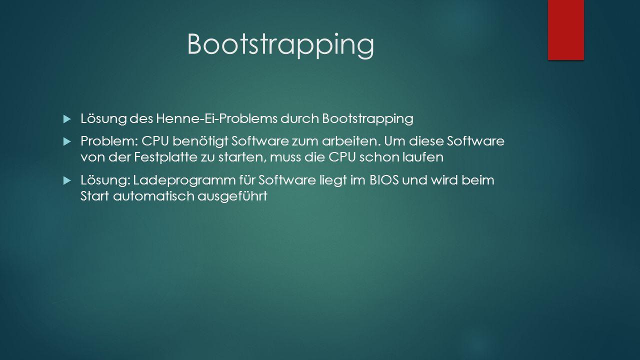 Bootstrapping  Lösung des Henne-Ei-Problems durch Bootstrapping  Problem: CPU benötigt Software zum arbeiten. Um diese Software von der Festplatte z