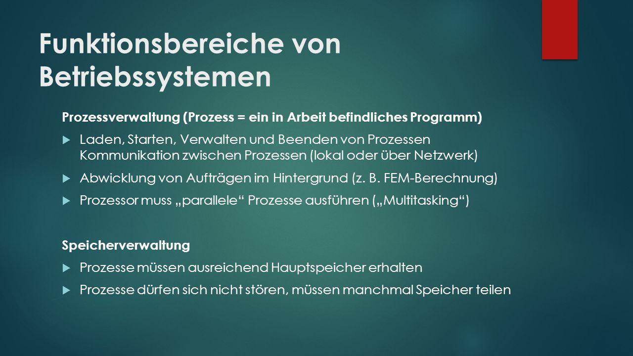 Funktionsbereiche von Betriebssystemen Prozessverwaltung (Prozess = ein in Arbeit befindliches Programm)  Laden, Starten, Verwalten und Beenden von P