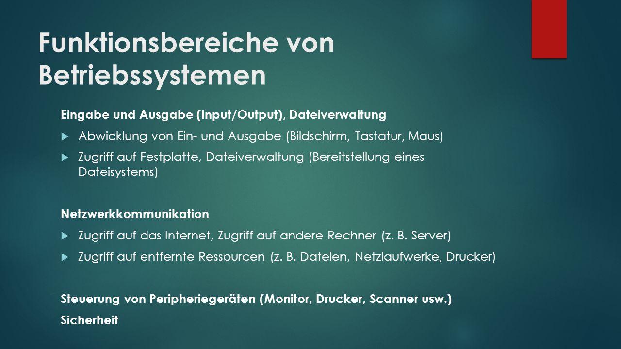 Funktionsbereiche von Betriebssystemen Eingabe und Ausgabe (Input/Output), Dateiverwaltung  Abwicklung von Ein- und Ausgabe (Bildschirm, Tastatur, Ma