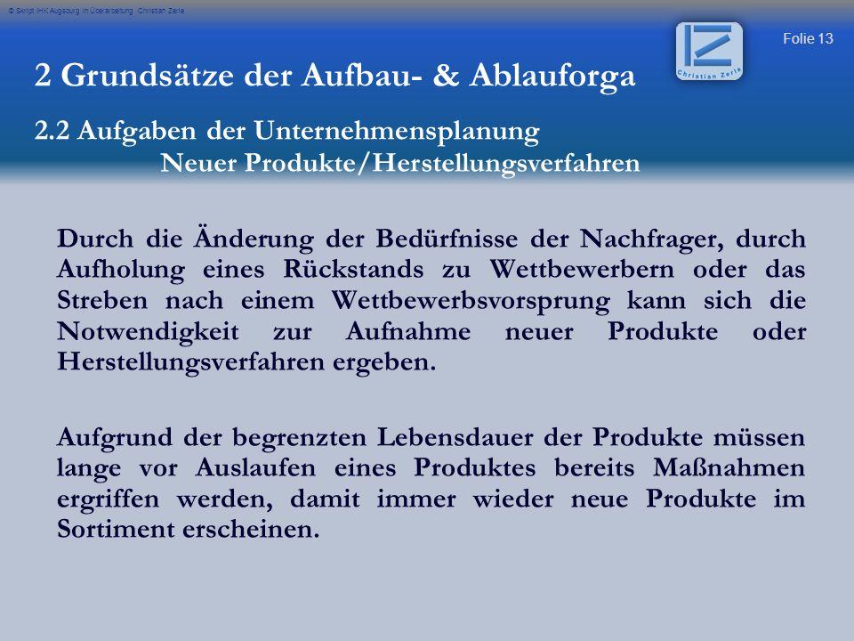 Folie 13 © Skript IHK Augsburg in Überarbeitung Christian Zerle Durch die Änderung der Bedürfnisse der Nachfrager, durch Aufholung eines Rückstands zu