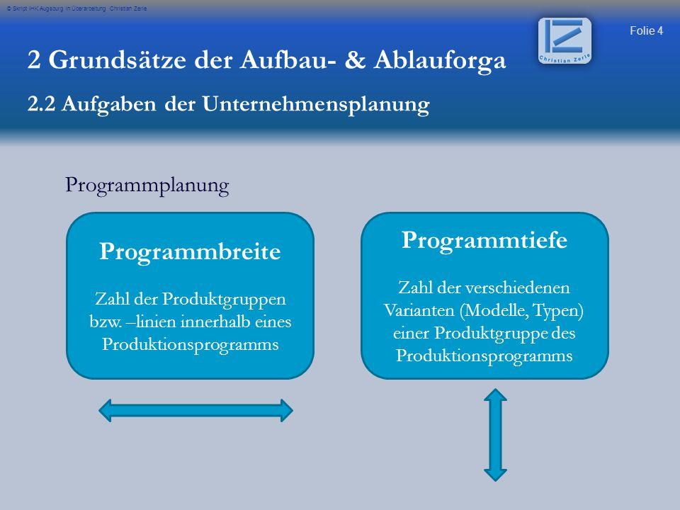 Folie 4 © Skript IHK Augsburg in Überarbeitung Christian Zerle Programmplanung 2 Grundsätze der Aufbau- & Ablauforga 2.2 Aufgaben der Unternehmensplan