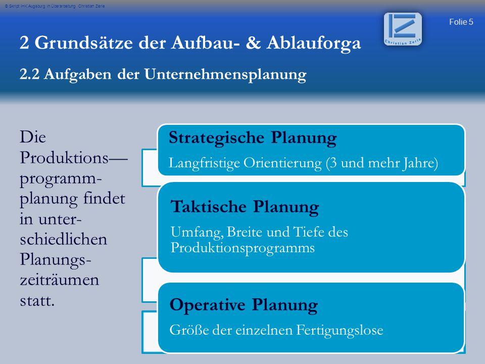 Folie 5 © Skript IHK Augsburg in Überarbeitung Christian Zerle Die Produktions— programm- planung findet in unter- schiedlichen Planungs- zeiträumen s