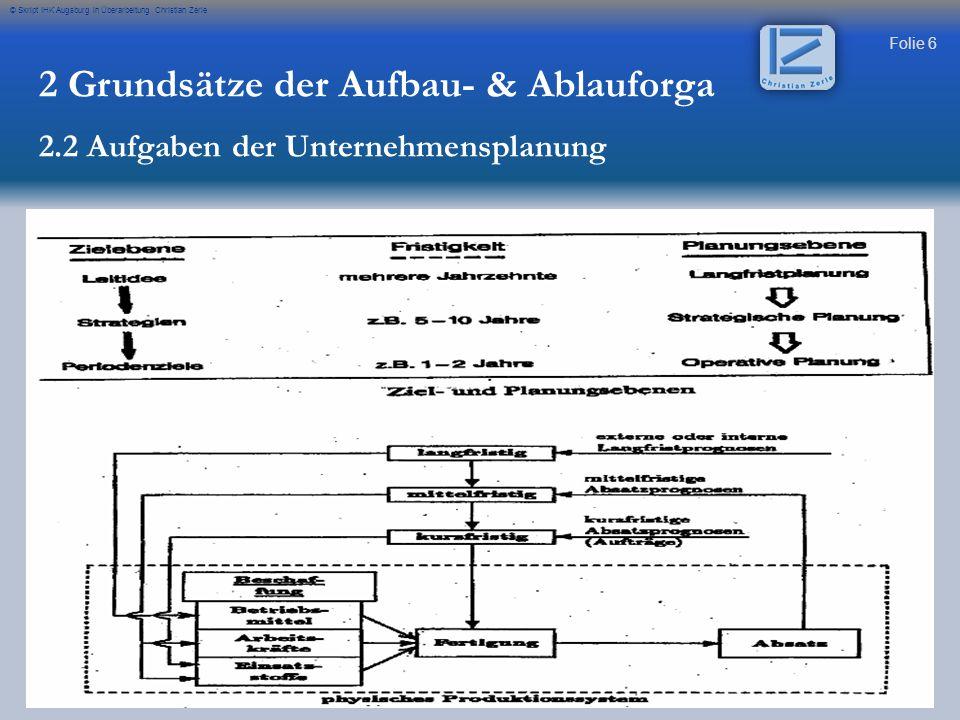 Folie 6 © Skript IHK Augsburg in Überarbeitung Christian Zerle 2 Grundsätze der Aufbau- & Ablauforga 2.2 Aufgaben der Unternehmensplanung