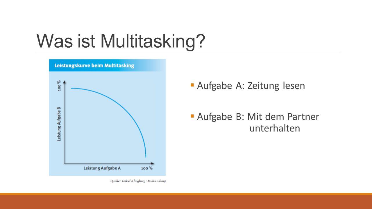 Chancen  Literatur stark auf Probleme und Nachteile fokussiert  Häufig eher unbewusster Vorgang  Subjektives Gefühl einer gesteigerten Produktivität  im Alltag Multitasking häufig dennoch hilfreich