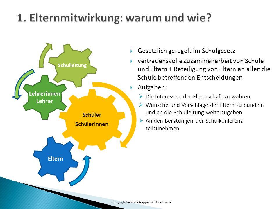  Gesetzlich geregelt im Schulgesetz  vertrauensvolle Zusammenarbeit von Schule und Eltern + Beteiligung von Eltern an allen die Schule betreffenden