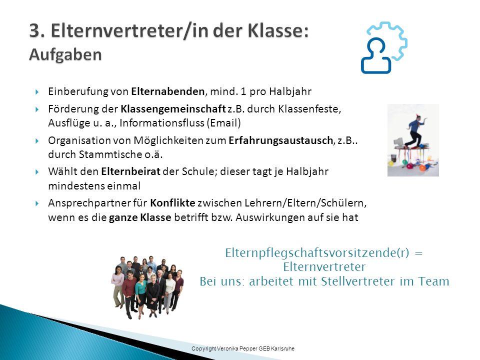  Einberufung von Elternabenden, mind. 1 pro Halbjahr  Förderung der Klassengemeinschaft z.B. durch Klassenfeste, Ausflüge u. a., Informationsfluss (