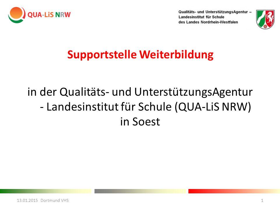 Supportstelle Weiterbildung in der Qualitäts- und UnterstützungsAgentur - Landesinstitut für Schule (QUA-LiS NRW) in Soest 13.01.2015 Dortmund VHS1