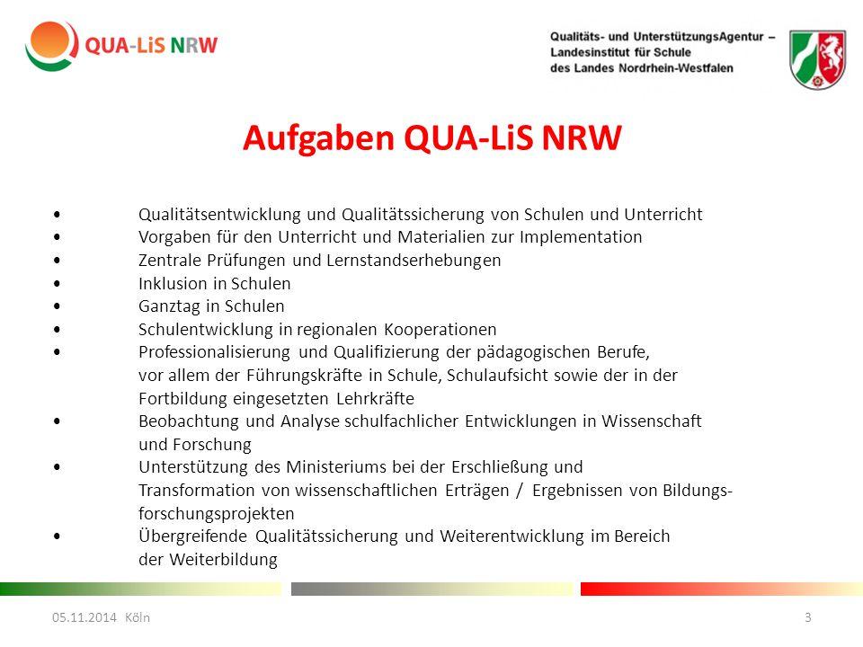 Aufgaben QUA-LiS NRW Qualitätsentwicklung und Qualitätssicherung von Schulen und Unterricht Vorgaben für den Unterricht und Materialien zur Implementa