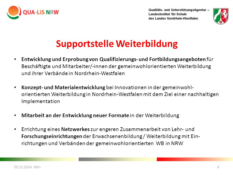 Supportstelle Weiterbildung Entwicklung und Erprobung von Qualifizierungs- und Fortbildungsangeboten für Beschäftigte und Mitarbeiter/-innen der geme