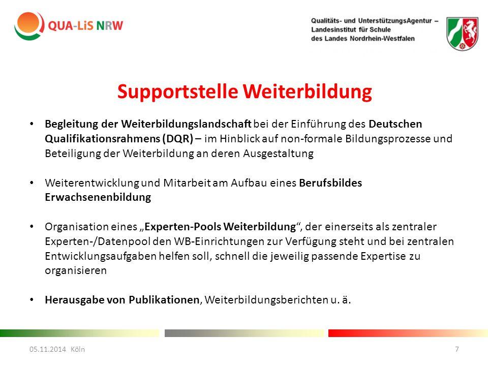 """Supportstelle Weiterbildung Begleitung der Weiterbildungslandschaft bei der Einführung des Deutschen Qualifikationsrahmens (DQR) – im Hinblick auf non-formale Bildungsprozesse und Beteiligung der Weiterbildung an deren Ausgestaltung Weiterentwicklung und Mitarbeit am Aufbau eines Berufsbildes Erwachsenenbildung Organisation eines """"Experten-Pools Weiterbildung , der einerseits als zentraler Experten-/Datenpool den WB-Einrichtungen zur Verfügung steht und bei zentralen Entwicklungsaufgaben helfen soll, schnell die jeweilig passende Expertise zu organisieren Herausgabe von Publikationen, Weiterbildungsberichten u."""