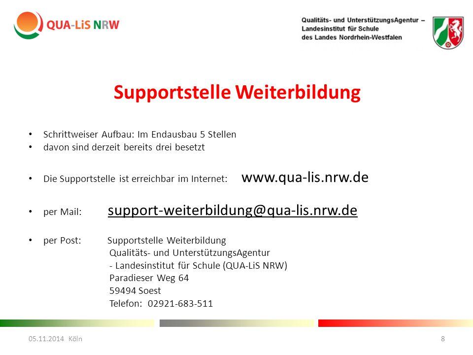 Supportstelle Weiterbildung Schrittweiser Aufbau: Im Endausbau 5 Stellen davon sind derzeit bereits drei besetzt Die Supportstelle ist erreichbar im Internet: www.qua-lis.nrw.de per Mail: support-weiterbildung@qua-lis.nrw.de per Post: Supportstelle Weiterbildung Qualitäts- und UnterstützungsAgentur - Landesinstitut für Schule (QUA-LiS NRW) Paradieser Weg 64 59494 Soest Telefon: 02921-683-511 05.11.2014 Köln8