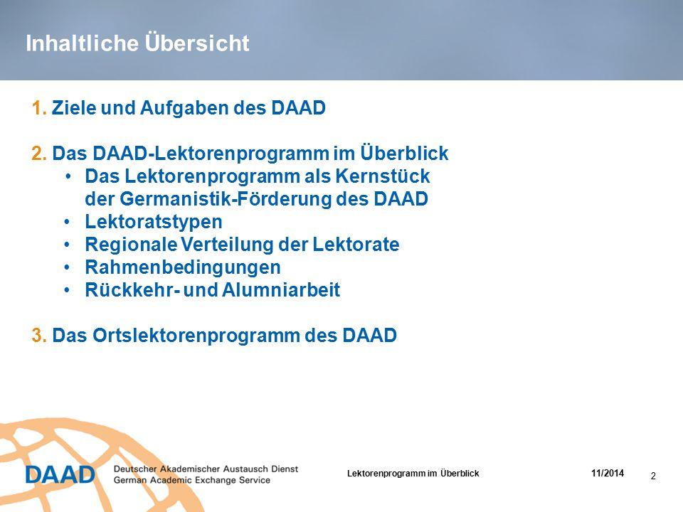 Inhaltliche Übersicht 1. Ziele und Aufgaben des DAAD 2. Das DAAD-Lektorenprogramm im Überblick Das Lektorenprogramm als Kernstück der Germanistik-Förd