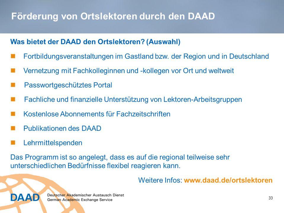 Förderung von Ortslektoren durch den DAAD 33