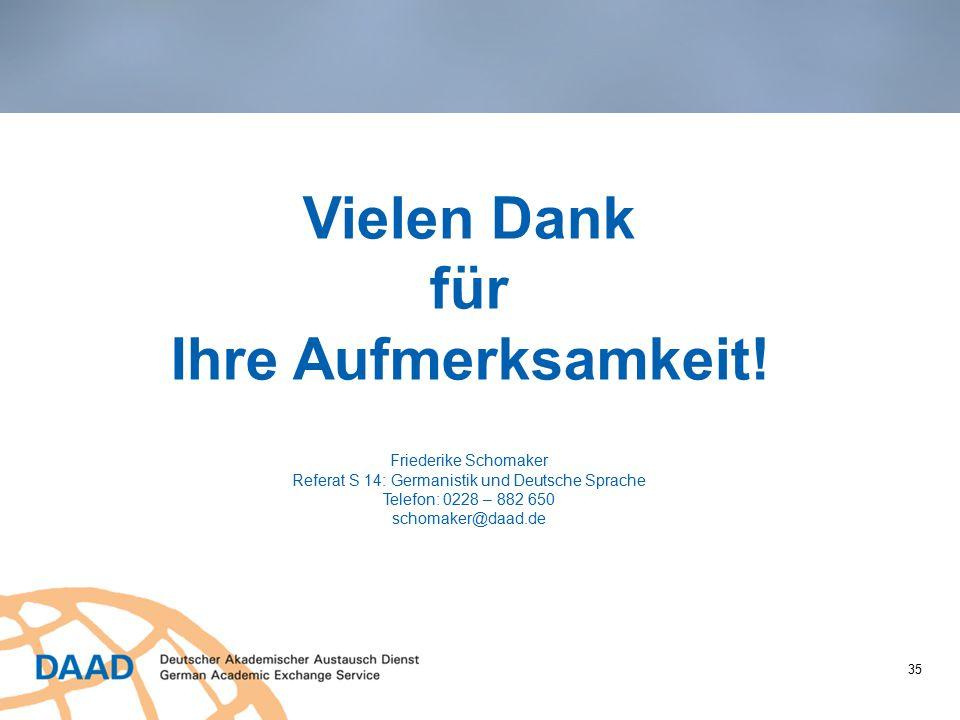 Vielen Dank für Ihre Aufmerksamkeit! Friederike Schomaker Referat S 14: Germanistik und Deutsche Sprache Telefon: 0228 – 882 650 schomaker@daad.de 35