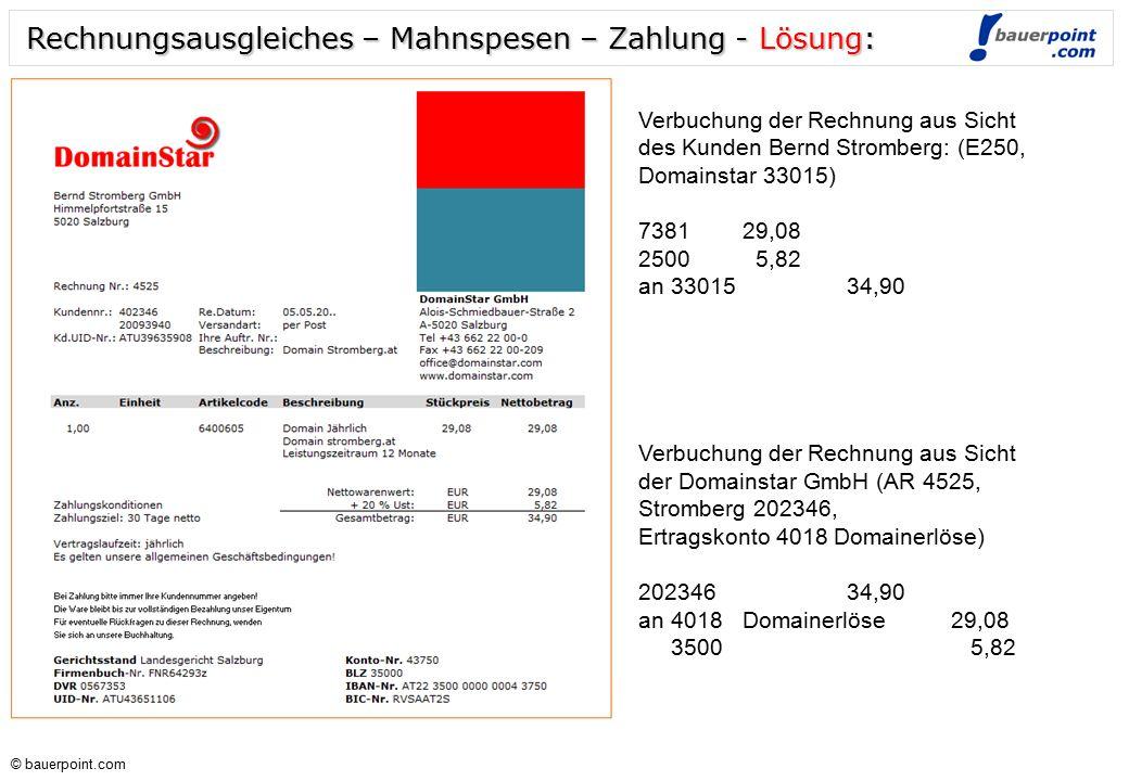 © bauerpoint.com © bauerpoint.com Rechnungsausgleiches – Mahnspesen - Zahlung: Verbuchung der Rechnung aus Sicht des Kunden Bernd Stromberg: (E250, Do