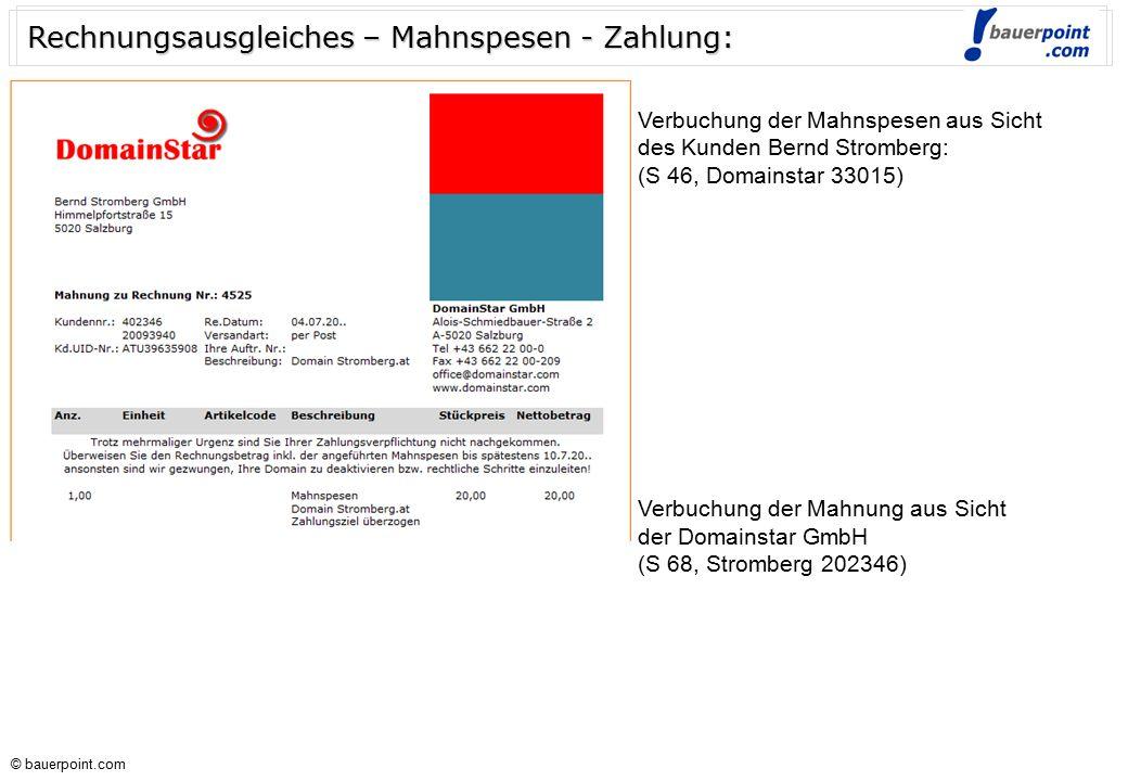 © bauerpoint.com © bauerpoint.com Rechnungsausgleiches – Mahnspesen – Zahlung - Lösung: Verbuchung der Rechnung aus Sicht des Kunden Bernd Stromberg: