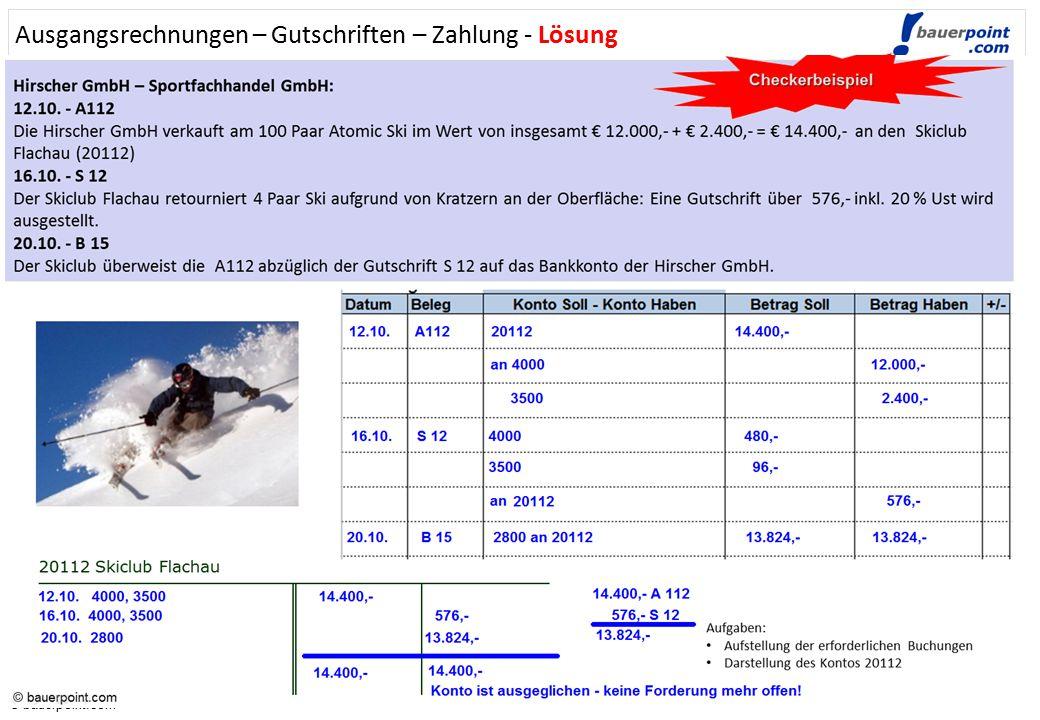 © bauerpoint.com © bauerpoint.com Ausgangsrechnungen – Gutschriften - Zahlung Hirscher GmbH – Sportfachhandel : 12.10. - A112 Die Hirscher GmbH verkau