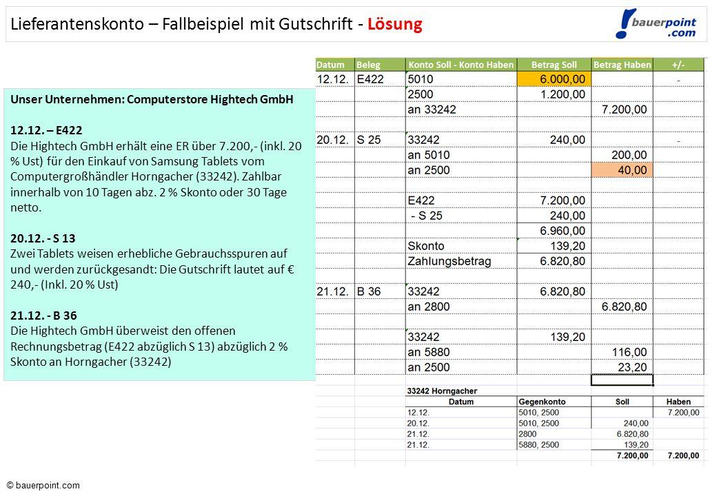 © bauerpoint.com © bauerpoint.com Unser Unternehmen: Computerstore Hightech GmbH 12.12. – E422 Die Hightech GmbH erhält eine ER über 7.200,- (inkl. 20