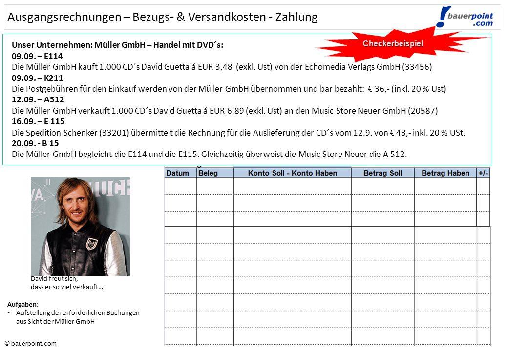 © bauerpoint.com © bauerpoint.com Ausgangsrechnungen – Gutschriften – Zahlung - Lösung Checkerbeispiel