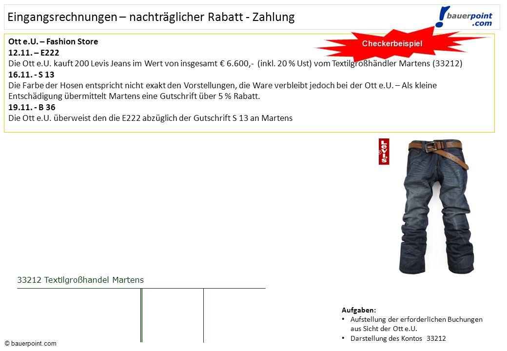 © bauerpoint.com © bauerpoint.com Ausgangsrechnungen – Gutschriften – Zahlung - Lösung CheckerbeispielLösung