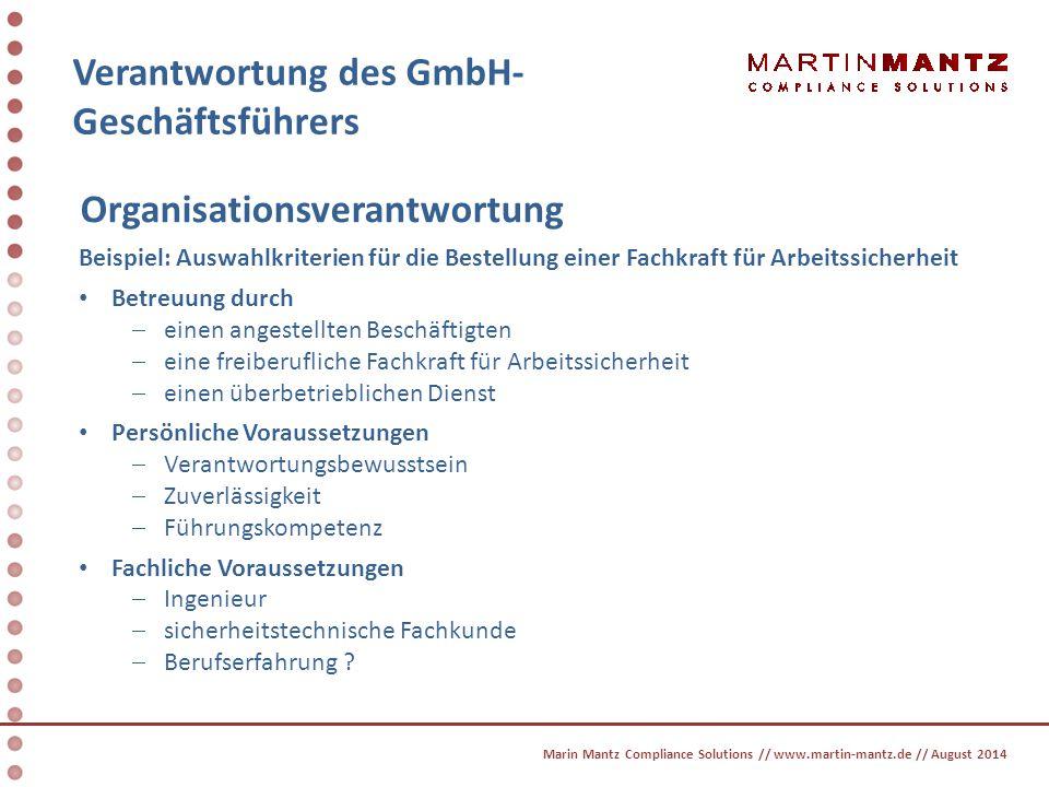 Verantwortung des GmbH- Geschäftsführers Organisationsverantwortung Beispiel: Auswahlkriterien für die Bestellung einer Fachkraft für Arbeitssicherhei